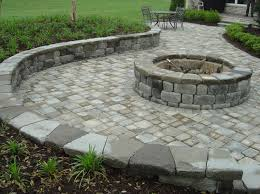fire pit paver patio construction seating retaining wall