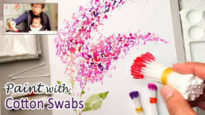 cotton swabs painting technique for beginners basic easy step by step