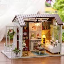 building doll furniture. Miniature Doll House Model Building Kits Wooden Furniture Toys Birthday Gifts-Happy Times - Intl O