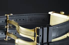 photo of black genuine alligator leather replacement watch band with clasp