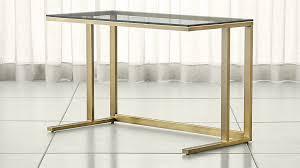 Glass top writing desk Brass Pilsenbrassdeskshf171x1 Crate And Barrel Pilsen Brass Desk With Glass Top Reviews Crate And Barrel