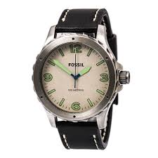 fossil jr1461 men 039 s nate white dial black leather strap watch cloud zoom small image