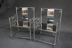 modern chinese furniture. a very modern set of chinese low back arm chairs in stainless steel furniture