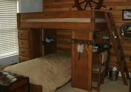 rustic wooden twin size bunk bed l shaped design with desk and tall narrow dresser