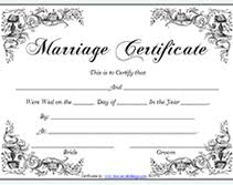 Free Fancy Printable Marriage Certificates Templates