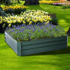 outsunny 26 x 26 x 12 galvanized metal raised garden bed kit set of 2 green