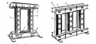 Курсовая работа Техническое обслуживание и ремонт трансформаторов  Рис 3 Магнитопроводы однофазного тягового а и силового трехфазного б трансформаторов 1 стержень 2 ярмовые балки 3 стяжные шпильки