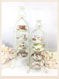 Cup And Saucer Display Stands XL 100 Tier Twisted Metal Shabby Chic Tea Cup and Saucer Display 81