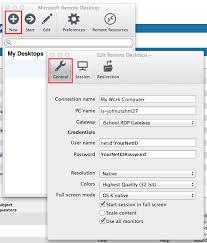 edit remote desktops settings osx