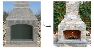 this same outdoor stone fireplace kit was used by the mason on the right who customized it by adding a chimney extension and building a base hearth that