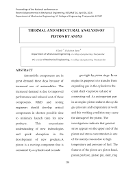 Design And Analysis Of Connecting Rod Project Report Pdf Thermal And Structural Analysis Of Piston By Ansys