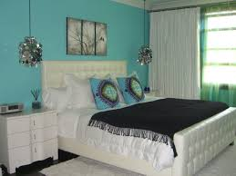 Bedroom:Amusing Bedroom Decorating With Turquoise Headboard And Stripped  Curtain Ideas Beautiful Bedroom Design With
