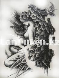 временное тату Tattoo девушка с крыльями 215x155mm Hb 802