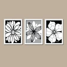black and white floral canvas wall art