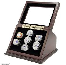 details about hand made football championship ring souvenir full set with wooden display case