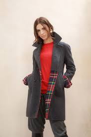 coming soon charcoal hand finished womens merino wool cashmere pea coat in darkgray