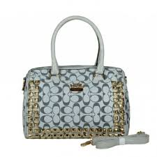 Coach Legacy Haley In Stud Signature Medium Grey Satchels BDM