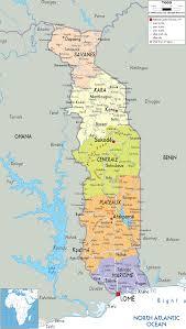 detailed political map of togo  ezilon maps