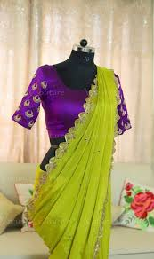 Designer Wall Sarees Beautiful Parrot Green Color Designer Saree And Purple Color