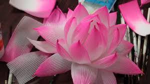 How To Make Big Lotus Flower From Paper Lotus Lantern Making Workshop Youtube