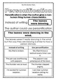 figurative language chart and student worksheets writing figurative language mini anchor charts