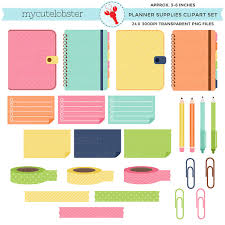 Planner Supplies Clipart Set Planners Sticky Notes Paperclips