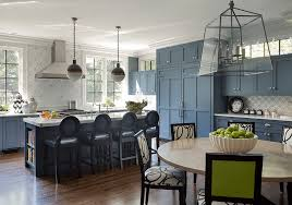 this stunning kitchen design by liz caan interiors brings calming hues of blue together with eternity s timeless mosaic for a clic but fresh design