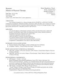 Sample Resume Objectives For Physical Therapist Sample Resume Objectives For Physical Therapist Refrence Sample 2