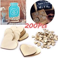 Log Crafts 200pcs Natural Wood Log Heart Slices Discs Diy Wooden Crafts