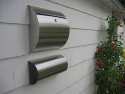 residential mailboxes wall mount. Curb Appeal Stainless Steel Modern, Contemporary Wall Mount Mailbox With Newspaper Holder Residential Mailboxes