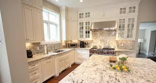 Kitchen White Granite Countertops French Door Refrigerator Dark Brown Cabinets White Granite