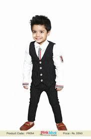 Pant And Shirt Stylish Designer Kids Birthday Suit With White Shirt Black Trouser