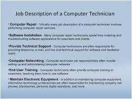 Computer Technician Job Description Resume Sample Computer Hardware