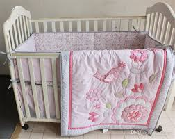 easter gift cotton nursery bedding set girls crib set happy birds and flowers applique embroidery inc comforter coverlet and skirt childrens bedroom bedding