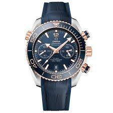 men s omega seamaster planet ocean master chronograph blue leather strap watch o21523465103001 reeds jewelers