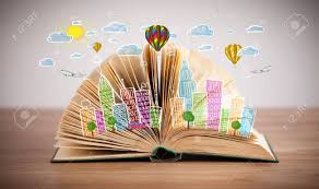 colorful cityscape drawing on open book stock photo 25015408
