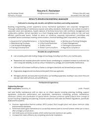 Engineering Resume Summary Senior Executive Manufacturing Engineering httpwwwresumecareer 1
