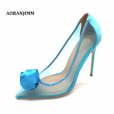 Light Blue Womens Heels Us 58 0 Free Shipping Light Blue Mesh Ventilate With Big Flower Pointed Toe Women Lady Girl High Heel Shoes Pump On Sale Size 33 43 In Womens Pumps