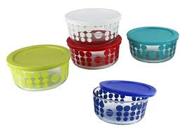 39 for a set of four limited edition pyrex glass containers with lids or 75 for two sets five colours available