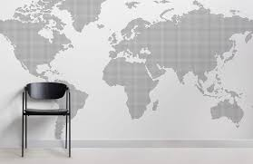 grey dotted world map wall mural room wall