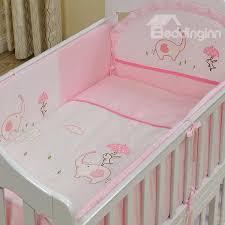 69 pink elephant and rabbit print 10 piece crib bedding sets