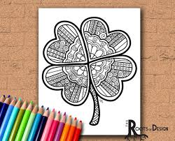 Small Picture INSTANT DOWNLOAD Coloring Page Four Leaf Clover Shamrock Print