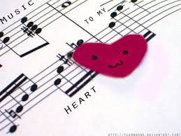 Sheet music with heart love
