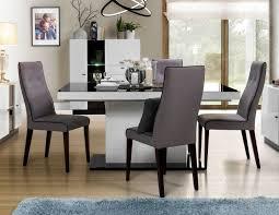 Esstisch 165 255x95cm Weiß Hochglanz Schwarz Glas Küchentisch