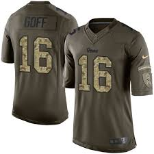 camo Jersey Salute T-shirt Jared Goff Rams 16 Angeles Black To Los Football Service4671738