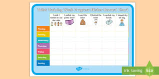 Toilet Training Week Progress Sticker Reward Chart Potty