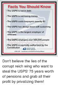 Facts You Should Know The Usps Is Not In Debt The Usps Is