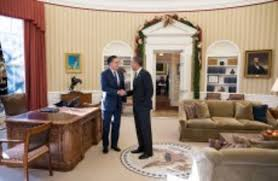 pictures of oval office. Barack Obama Greets Mitt Romney In The Oval Office - Which Will Be Vacant While West Wing Undergoes Major Repairs. Pictures Of