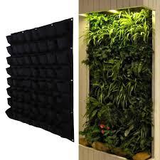 garden bag. 64 Pocket Hanging Vertical Garden Planter Indoor Outdoor Herb Pot Plant Living Bag Gardening Green