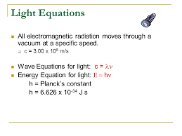 light equations all electromagnetic radiation moves through a vacuum at a specific sd c